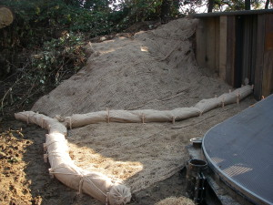Erosion control measures after installation.